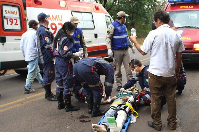 Pedestre fica gravemente ferido ao ser atropelado por motoqueiro na saída para Xambrê